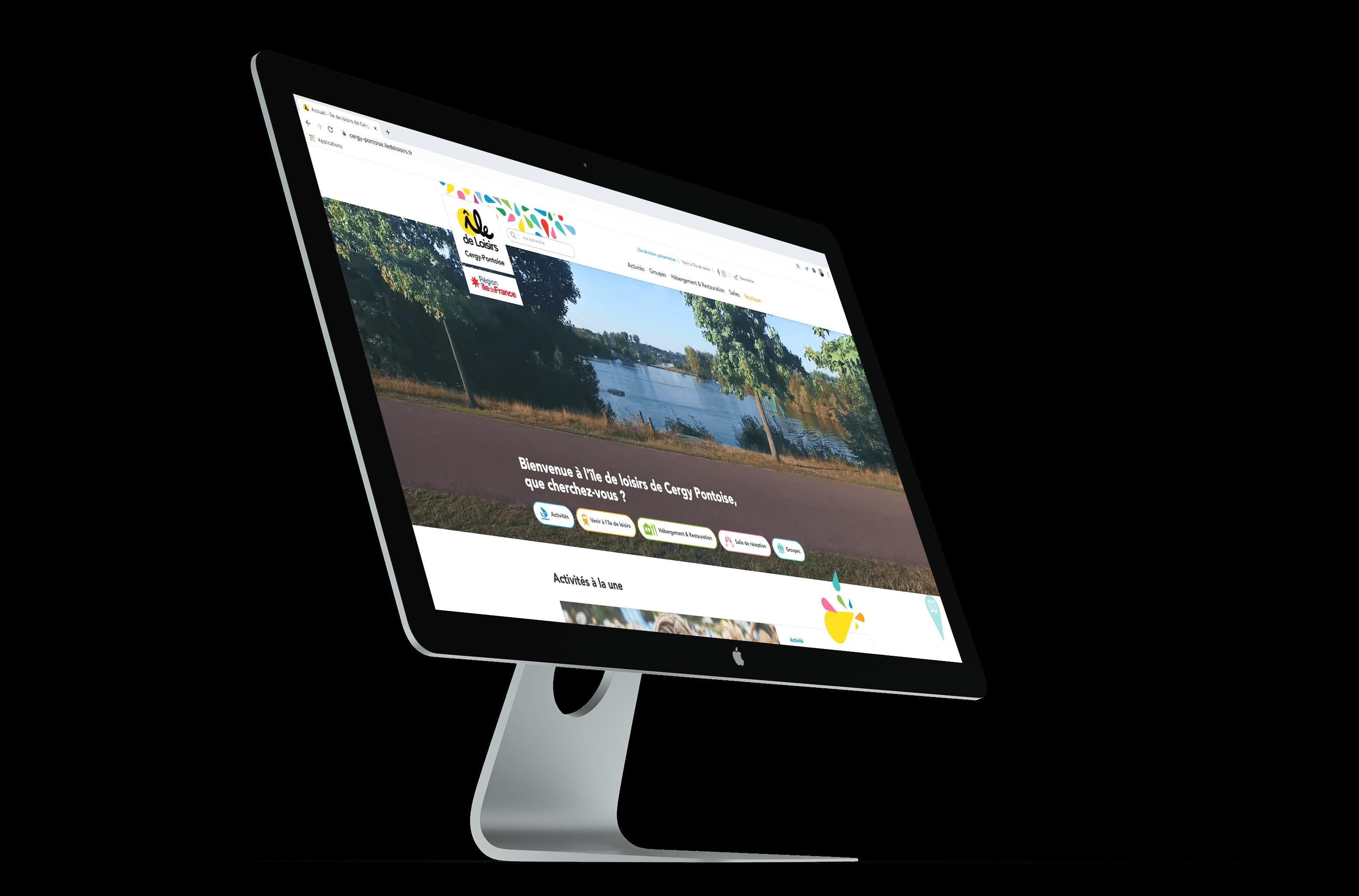 Mock-up iMac de la stratégie social media de la Base de loisirs de Cergy